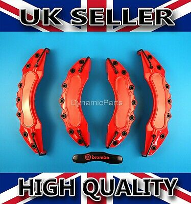 Universal Front & Rear Brake Caliper Covers Kit Red ABS - Brembo Sticker