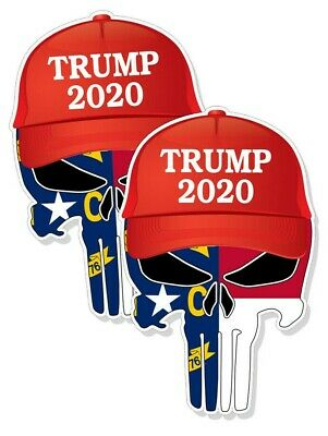 "TRUMP PUNISHER STICKERS North Carolina Flag 2020 Hat Decals 4"" tall 2-pack FRNT"
