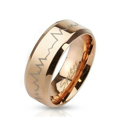 Stainless Steel Unisex Ring Rose Gold Heartbeat Heartbeat Laser Etched