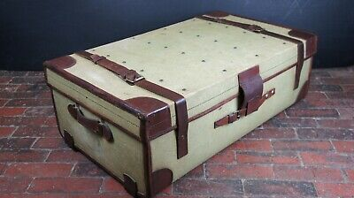 Green Canvas & Leather Military Uniform Trunk