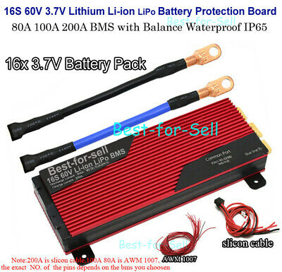 16S 60V 80A 100A 200A Li-ion Lipo Lithium Battery Protection Board BMS w Balance