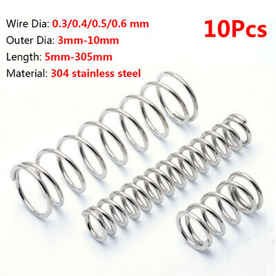10Pcs Compression Spring Wire Dia 0.3/0.4/0.5/0.6 mm Stainless Steel Pressure