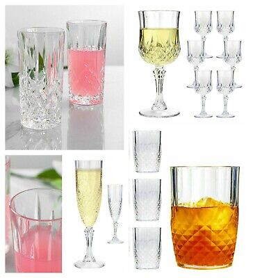Plastic Crystal Effect Champagne Flutes Glasses Wine Whisky Tumblers Set Home