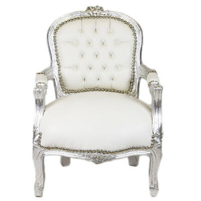 Children Baroque Style Chair Silver / White  # F11Mb45