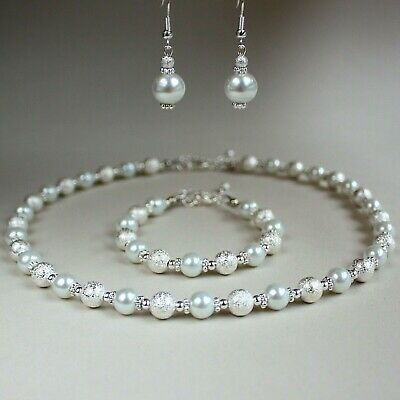 White pearls silver stardust wedding bridesmaid collar necklace jewellery set