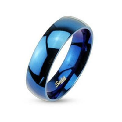 Stainless Steel Unisex Band Ring Blue Shiny Polished 6mm Width