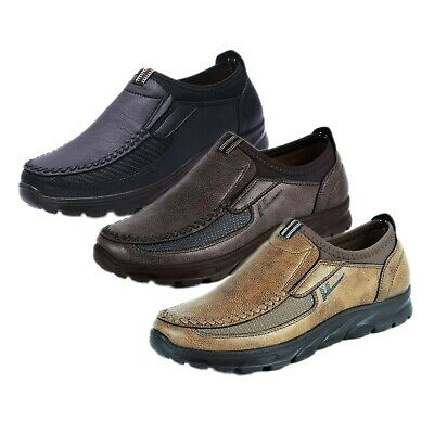 Men Leather Boat Casual Mesh Shoes Breathable Antiskid Loafers Slip on Moccasins