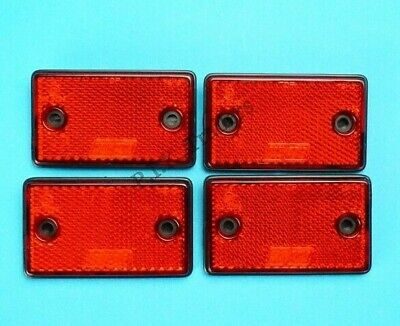 4 x RED Rear Reflectors Screw-on / Self Adhesive 75mm x 46mm - Trailer