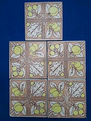 5 Victorian Antique Minton Hollins & Co Tiles Works Stoke on Trent  c1850-1855