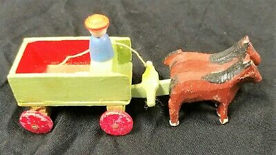 East Germany Carved Wood Figurine Horse And Cart Charming Estate Find
