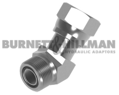 Burnett & Hillman ORFS Male x orfs Swivel Female 45° Forged Compact Elbow