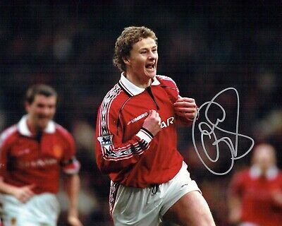 Ole Gunnar SOLSKJAER Signed Photo 2 AFTAL COA Manchester United Champions League