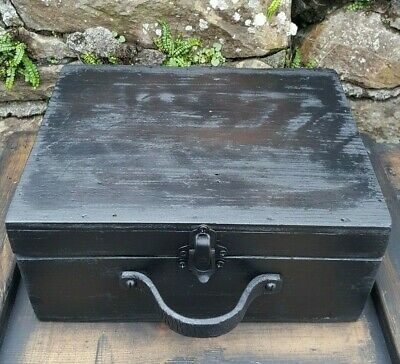 Antique Vintage, up cycled distressed wooden carry storage/tool/display box