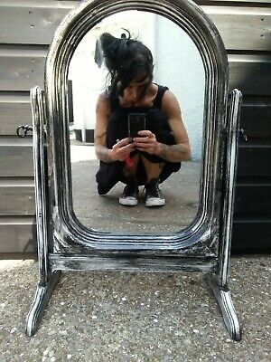 Antique Vintage, up cycled distressed wooden 1930's dresser mirror