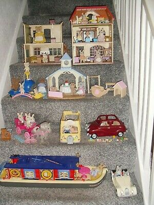 Sylvanian Families Job Lot Of Play Sets Barge School House Cars + With Figures