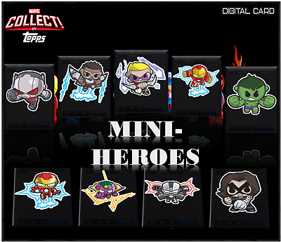 2019 MARVEL MINI-HEROES SERIES 2 SET OF 9  Topps Marvel Collect Digital Card
