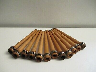 12 Antique Wooden Textile Thread Spool Yarn Weaving Spindle Bobbins Brass Tips