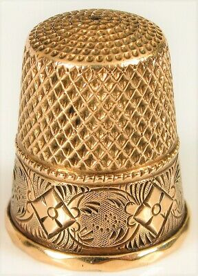 Antique 14K Yellow Gold Beautiful Chased Victorian Flower Design Sewing Thimble