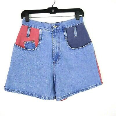 VTG 90s STEEL JEANS Womens Sz 9 Mom Jeans Shorts High Rise Red Blue Colorblock
