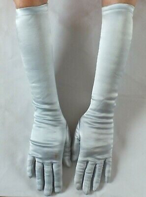 VINTAGE GLOVES in Satin Look light blue stretch.Elbow length