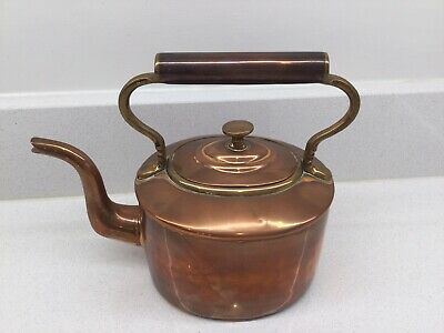 Antique Victorian Small Oval Copper Kettle. Swan Neck Spout.