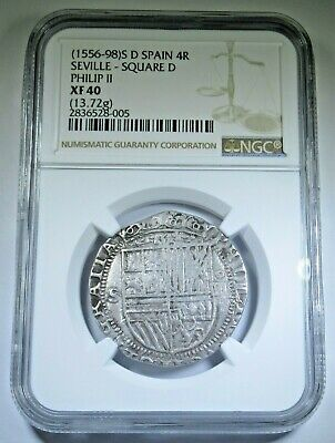 NGC XF40 Philip II 1500's Spanish Silver 4 Reales Real Antique Colonial Cob Coin