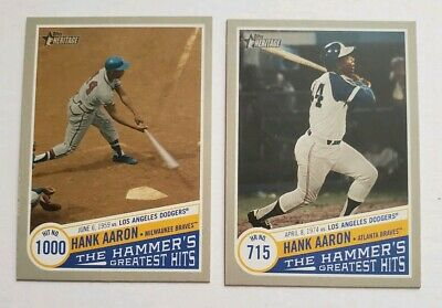 (2) 2019 Topps Heritage High HANK AARON Set Lot of 2 Hammer's Greatest Hits SP