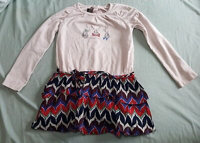 Jean Bourget Dress and Red Leggings Rabbit print Cotton Little Girls Kids 4 Year
