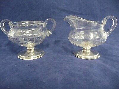 Early 20Th Century Hawkes Sterling Silver & Etched Crystal Creamer & Sugar