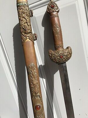"33"" Old Antique Chinese Turquoise Gems Inlays Dragon Figure Brass Sword Scabbard"