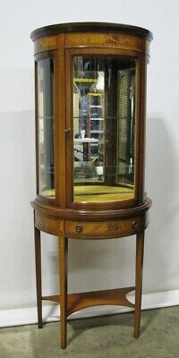 Vintage Mahogany Federal Chippendale Demi-lune Display Vitrine Inlaid Detail