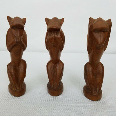 3 Wood Hand Carved in Kenya Monkeys See No Evil Hear No Evil Speak No Evil 4.5""