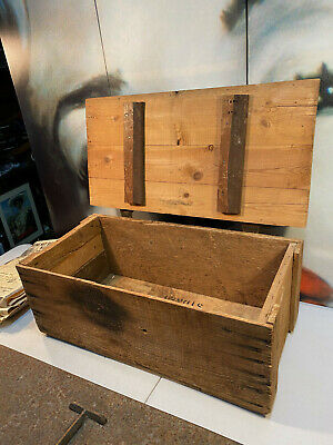 Vintage Rustic Baltic Pine Storage Tool Lidded Box 63cm Wide Cast Iron Hinges