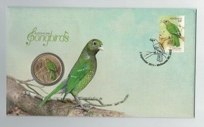 2013 TUVALU Songbirds $1 UNC MINT COIN  & 55c Stamp Perth Mint