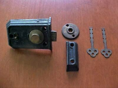 Vintage Cast Iron and Brass Surface Mount Lock ~ Complete with 2 Keys
