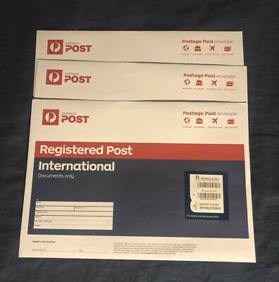 Brand New | 5x Australia Post Registered International B4 Envelopes | -35% RRP