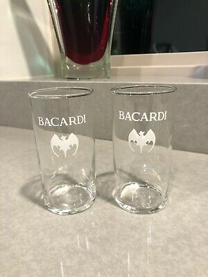 Set of 2 - Bacardi Rum - Pint Glasses - Bat Logo - Clear Glass - vintage