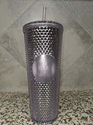 NEW STARBUCKS 2019 Platinum Silver Studded Cold Cup Tumbler WINTER HOLIDAY 24 oz