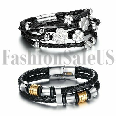2pcs His and Hers Black Braided Leather Stainless Steel Buckle Clover Bracelet