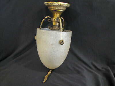 Antique ART DECO ERA BRASS & FROSTED GLASS SHADE ENTRY HALL PENDANT LIGHT