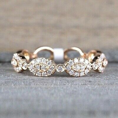 Fashion Women Ring 18K Yellow Gold Plated Jewelry White Sapphire Ring Size 6-10
