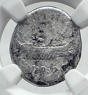 MARK ANTONY Cleopatra Lover 32BC Ancient Silver Roman Coin LEGION XI NGC  i81288