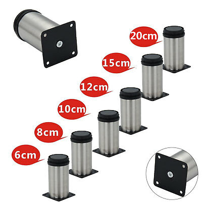 New 4x Adjustable Cabinet Legs Stainless Steel Kitchen Feet Rounds Stand Holders