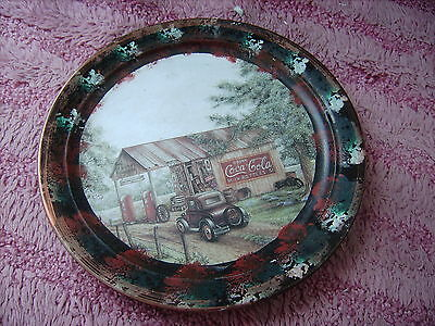 Coke Cola Garage & 40S Ford           On A Decoupage  Plate