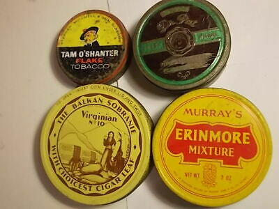 4 Old Empty Tobacco Tins in Used Cond.