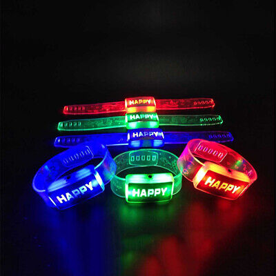 1pc Illuminate LED HAPPY Wrist Strap Band Wristband Bracelet Toy Random Color