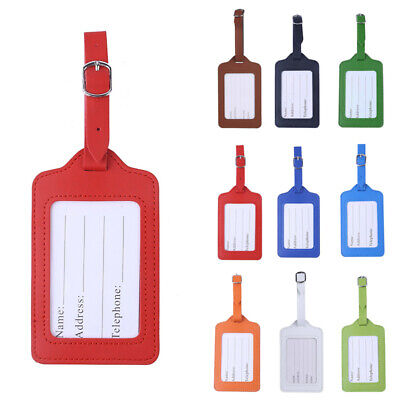1 PC Leather Luggage Tags Suitcase Id Card Name Label Baggage Travel Holder