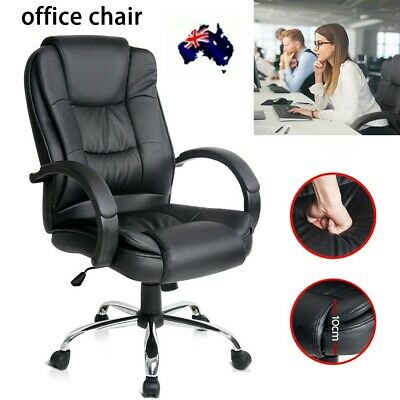 Executive Office Chair Massage Recliner Computer Gaming Seat Footrest Leather AU