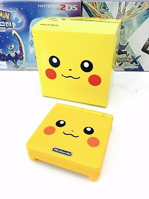Gameboy Advance SP Pikachu AGS-001 GBA Game Boy Pokemon Handheld Console Boxed