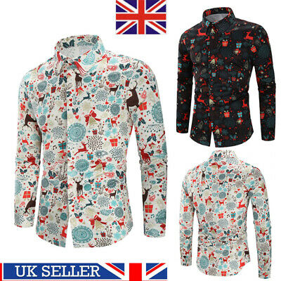Mens Christmas Floral Shirt Blouse Casual Xmas Party Long Sleeve Tops Tee S-3XL